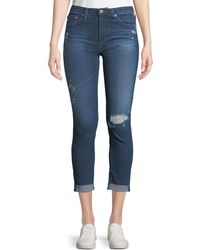 AG Jeans - Prima Mid-rise Skinny Crop Roll-up Jeans - Lyst