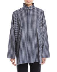 Eskandar - Wide Double Stand-collar Gingham Cotton Shirt W/ Hidden Placket - Lyst