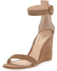Gianvito Rossi - Suede High-wedge Sandals - Lyst