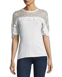 Elie Tahari - Flora Illusion-yoke Half-sleeve Sweater - Lyst