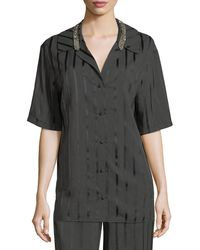 Alexander Wang - Striped Short-sleeve Pajama Shirt - Lyst