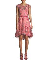 Marchesa notte - Cap-sleeve Floral-embroidered Tulle Cocktail Dress W/ Velvet Belt - Lyst