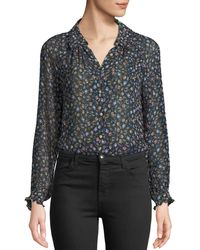 Rebecca Taylor - Zelma Floral Button-front Top - Lyst