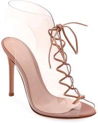 00c6904dc53 Gianvito Rossi - Helmut Plexi Lace-up 105mm Booties - Lyst