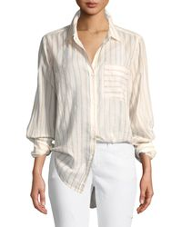 Current/Elliott The Boyfriend Long-sleeve Button-front Striped Cotton Shirt - Multicolour