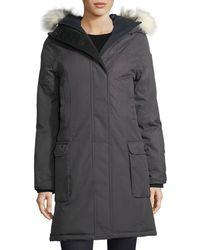 Nobis - Abby Knee-length Coat With Fur Hood - Lyst