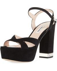Miu Miu - Suede Chunky-heel Platform Sandal - Lyst