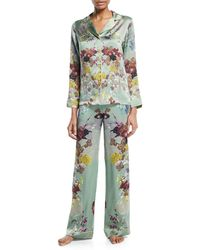 Meng - Floral-print Silk Long Pyjama Set - Lyst