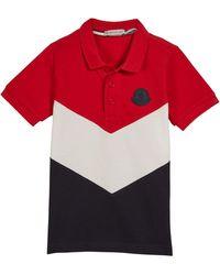 d3320793e0de Lyst - Moncler Navy-tipped Short-sleeve Pique Polo Shirt in Blue for Men