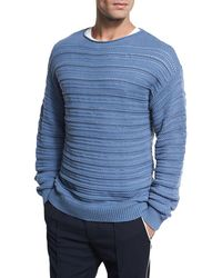 Vince | Horizontal Textured Crewneck Sweater | Lyst