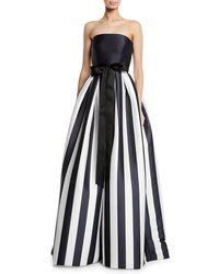 Monique Lhuillier - Strapless Striped Satin Ball Gown - Lyst