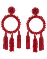 Oscar de la Renta - Large Beaded Circle Tassel Clip On Earrings - Lyst