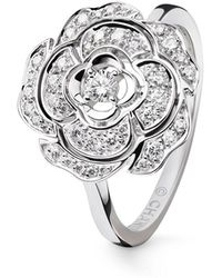 chanel bouton de camelia ring in 18k white gold and diamonds lyst