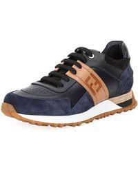 Fendi | Logo Leather & Suede Training Sneaker | Lyst