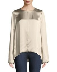 Forte Forte - Fluid Satin Long-sleeve Round-neck Top - Lyst