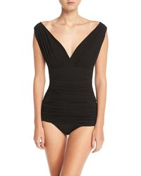 Norma Kamali - Tara Mio V-neck Solid One-piece Swimsuit - Lyst