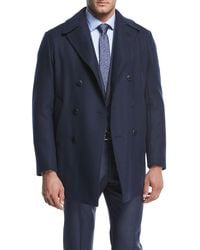 Armani - Wool-blend Double-breasted Pea Coat - Lyst