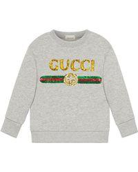00316647532 Gucci Sequin Snow White Sweatshirt in White - Lyst