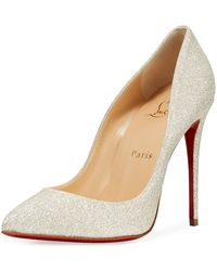 f5a190f7f0ce Lyst - Christian Louboutin Pigalle Follies 100mm Glitter Red Sole ...