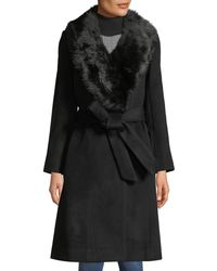 Club Monaco - Lenoria Belted Wool Coat With Faux-fur Collar - Lyst