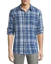 FRAME - Frayed-hem Plaid Shirt - Lyst