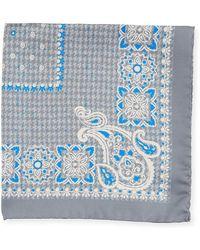 Kiton - Houndstooth Silk Pocket Square - Lyst