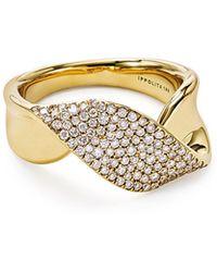 Ippolita - 18k Gold Stardust Twist Ribbon Ring W/ Diamonds - Lyst