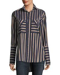 Palmer//Harding - Striped Button-front Cotton Shirt - Lyst