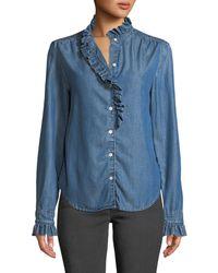 FRAME - Ruffle Button-front Denim Shirt - Lyst