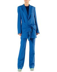Tibi - Linen-viscose Suiting Belted Long Blazer - Lyst