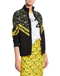 N°21 - Floral Pattern Chevron Stand Collar Sports Jacket - Lyst