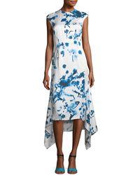 Cedric Charlier - Tie Dye Print Cap-sleeve Dress - Lyst