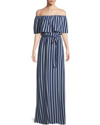 Alice + Olivia - Grazi Striped Off-the-shoulder Maxi Dress - Lyst