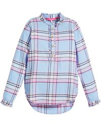 Joules - Corin Plaid Ruffle-trim Blouse - Lyst