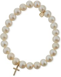Sydney Evan | Beaded Pearl & Diamond Cross Bracelet | Lyst