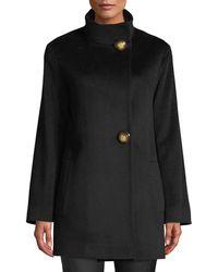 Fleurette - Funnel-neck Top Coat W/ Large Buttons - Lyst
