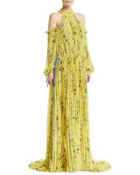 Self-Portrait - Floral-printed Cold-shoulder Pleated Evening Gown - Lyst