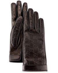 Gucci - Signature Leather Gloves - Lyst