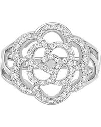 chanel camelia ring in 18k white gold with diamonds lyst