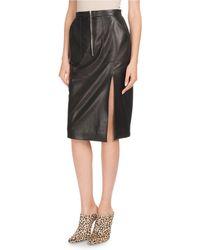 Altuzarra - Side-slit Calf Leather Knee-length Pencil Skirt - Lyst