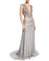 Monique Lhuillier - Deep-v Embroidered Lame Ruffle Gown - Lyst