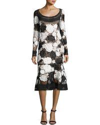 Naeem Khan - Two-tone Floral Guipure Lace Flounce Dress - Lyst
