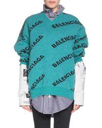 Balenciaga - V-neck Long-sleeve Logo-jacquard Wool Sweater - Lyst