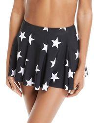 Norma Kamali - Pleated Star-print Mini Swim Skirt - Lyst