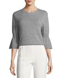 Halston - Cashmere-blend Bell-sleeve Sweater - Lyst