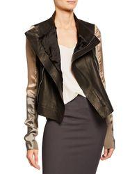 Rick Owens - Silky Sleeve Leather Biker Jacket - Lyst