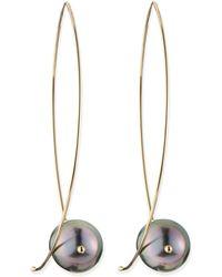 Mizuki - 14k Gold Black Tahitian Pearl Earrings - Lyst