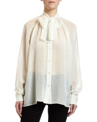 980278fc Dolce & Gabbana - Small-dot Fil Coupe Tie-neck Blouse - Lyst