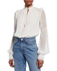 Jonathan Simkhai - Embroidered Silk Chiffon Bodysuit - Lyst