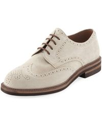 Brunello Cucinelli - Suede Brogue Wing-tip Shoe - Lyst